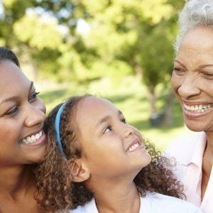 Mom Daughter and Grandma Laughing