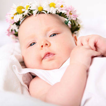 baby girl with flower headband