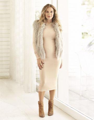 Alexa PenaVega Fur Jacket Beige Dress Standing