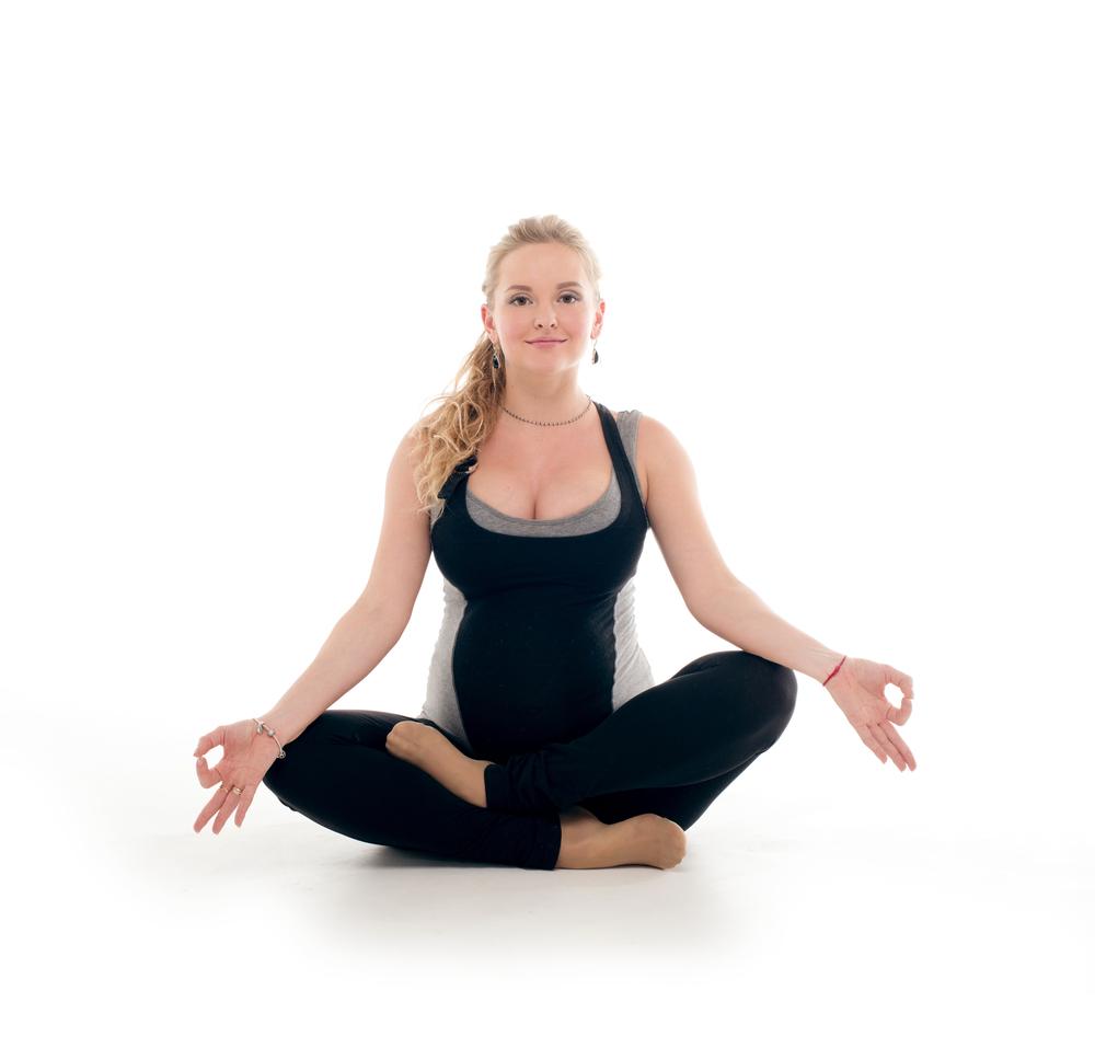 Prenatal Yoga Ankle to Knee Hip Opener Pose