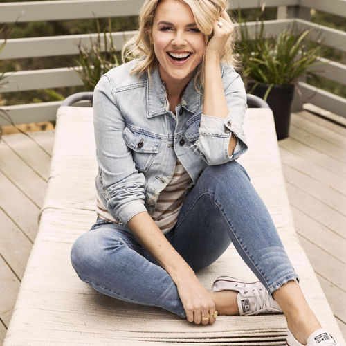 Ali Fedotowsky In Jean Jacket Sitting