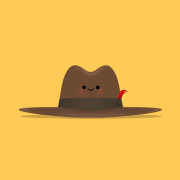 Wide-Brimmed Fedora Illustration