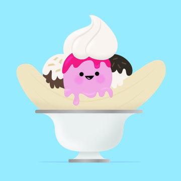 Giant Banana Split Illustration