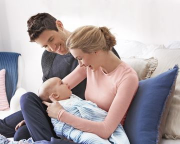 Mom Dad and Newborn Sitting on Couch