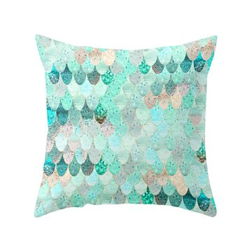Mint and Blue Summer Mermaid Throw Pillow