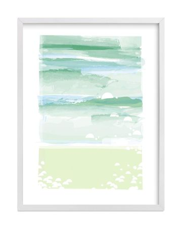 Mint and Blue Out to Sea Print Poster