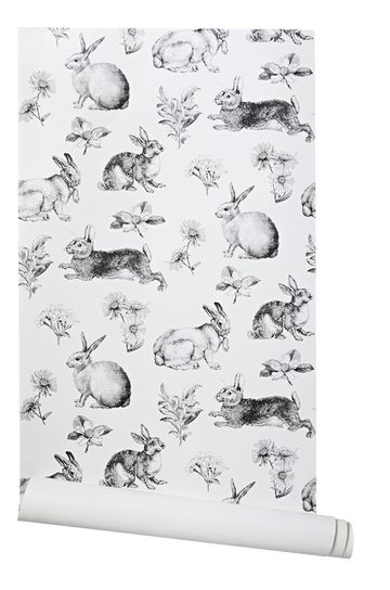 Black and White Bunny Toile Lapin Wallpaper