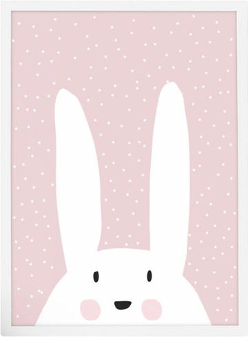 Peach Framed Bunny Art Polka Dots