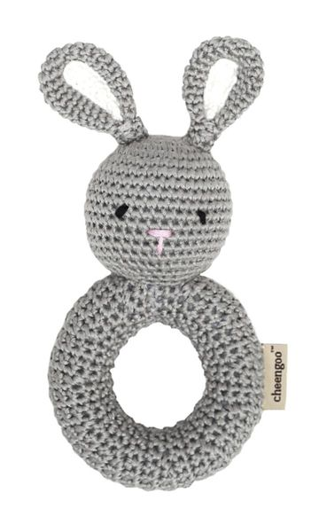 Gray Knitted Bunny Ring Rattle