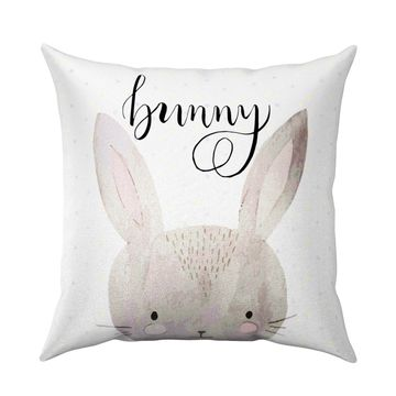 Beige Bunny Throw Pillow White