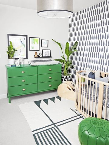 Go Green Nursery Theme with Accent Wall