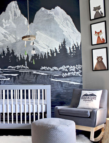 Dark Gray Theme Nursery with Chalkboard Accent Wall