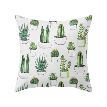 Cactus Nursery Watercolor Cacti and Succulent Throw Pillow