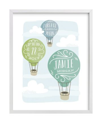 Hot Air Balloon Nursery Up And Away Print By Laura Hankins