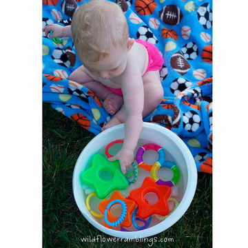Baby Bucket of Play Rings - Outdoor Activities with Baby