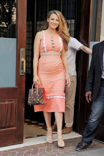 Blake Lively in Pink Maternity Dress