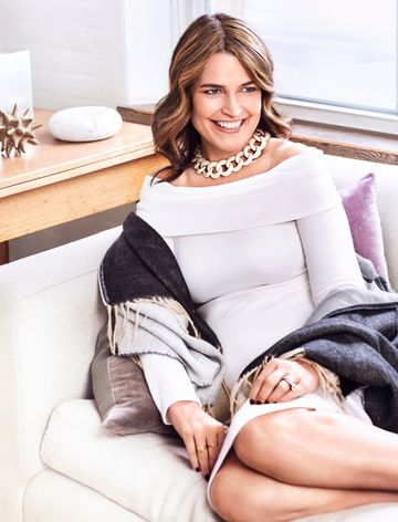 Savannah Guthrie November Fit Pregnancy Smiling On Couch