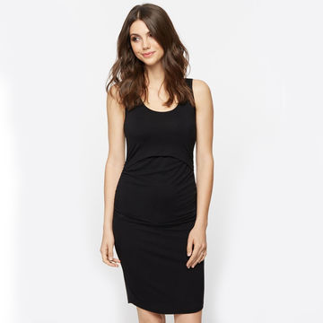 Knee-length tank dress with nursing features