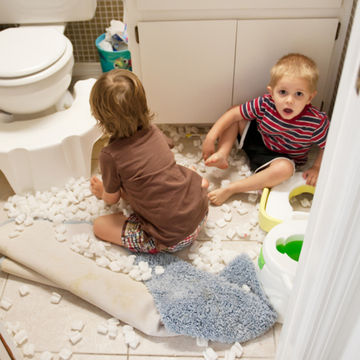 brothers making a mess in the bathroom