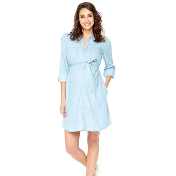 Long sleeve chambray dress with tie