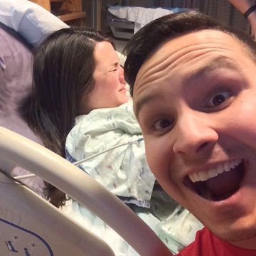 Excited New Dad Posts a Selfie While His Wife Gives Birth