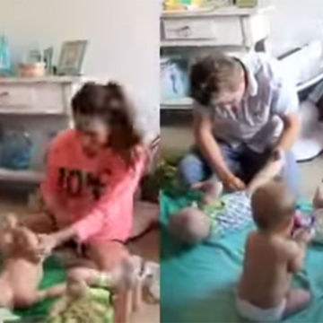 Parents of Triplets Face Off in Diaper Changing Challenge