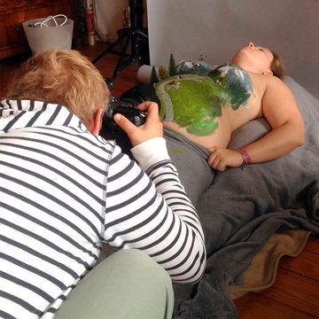 Photographer Models Tiny World on Pregnant Girlfriend's Belly