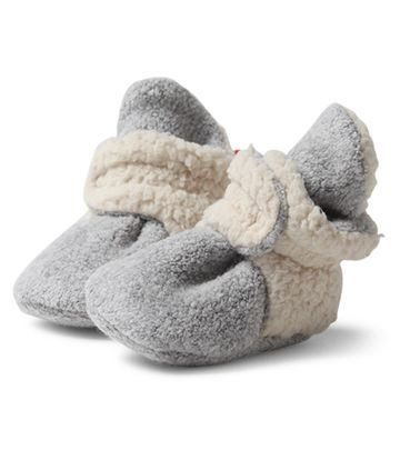 Heather Gray Cozie Newborn Furry Lined Booties