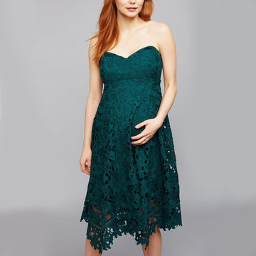 Emerald green lace dress with an asymmetrical hem