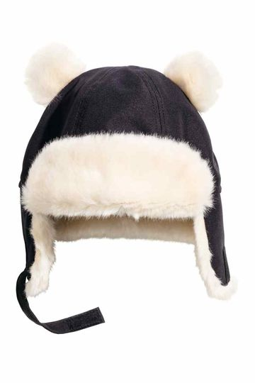 HM Gray Faux Fur Puffball Ears Hat