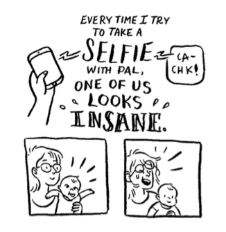 Mom and Baby selfie illustration