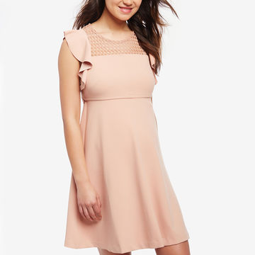 Flowy dress with flutter sleeves and mesh neckline