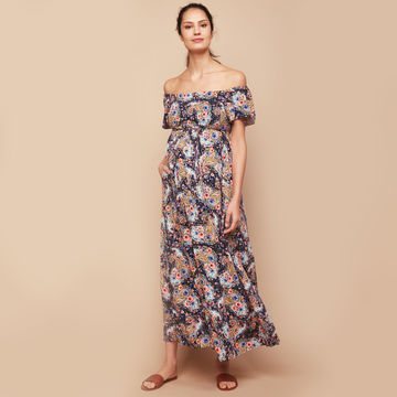 Off-the-shoulder floral maxi