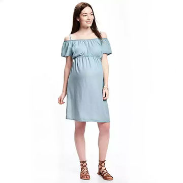 Cold shoulder dress with cinched empire waist
