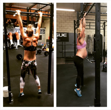 Sarah from @raise.the.bar.belle pregnant and working out