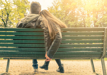 Loving Couple on a Bench