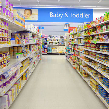 Grocery Store Aisle Filled with Formula and Baby Products