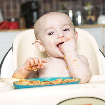 Baby Eating Pasta-Her First Finger Food