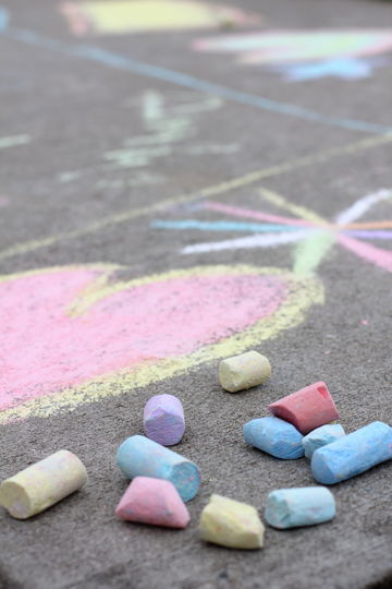 Sidewalk Chalk Heart and Star Drawings