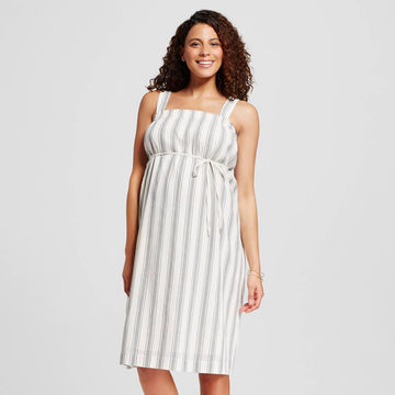 Striped dress with empire waist tie and thick straps