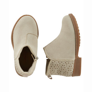 Taupe booties with perforations