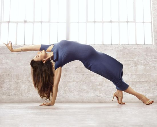 Hilaria Baldwin Stretching