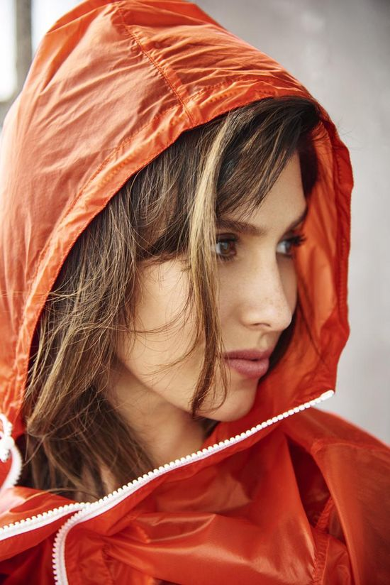 Hilaria Baldwin Wearing Orange Jacket