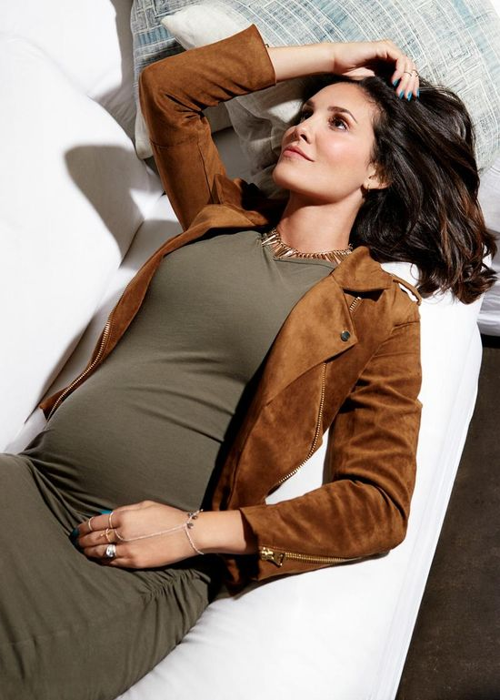 Daniela Ruah Fit Pregnancy and Baby Brown Jacket
